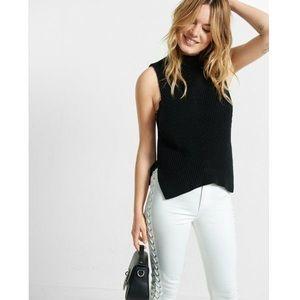 Express Shaker Knit Mock Neck Sleeveless Sweater